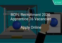 BCPL Recruitment 2020 Apprentice 76 Vacancies