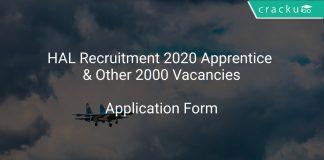 HAL Recruitment 2020 Apprentice & Other 2000 Vacancies