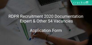 RDPR Recruitment 2020 Documentation Expert & Other 54 Vacancies