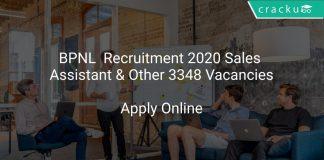 BPNL Recruitment 2020 Sales Assistant & Other 3348 Vacancies
