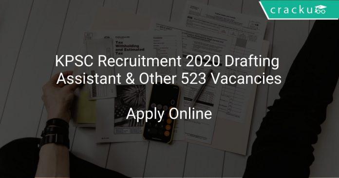 KPSC Recruitment 2020 Drafting Assistant & Other 523 Vacancies