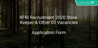 RFRI Recruitment 2020 Store Keeper & Other 05 Vacancies