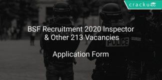BSF Recruitment 2020 Inspector & Other 213 Vacancies