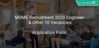 MSME Recruitment 2020 Engineer & Other 10 Vacancies
