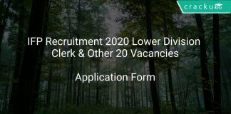 IFP Recruitment 2020 Lower Division Clerk & Other 20 Vacancies