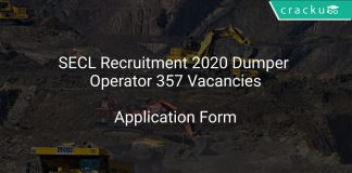 SECL Recruitment 2020 Dumper Operator 357 Vacancies