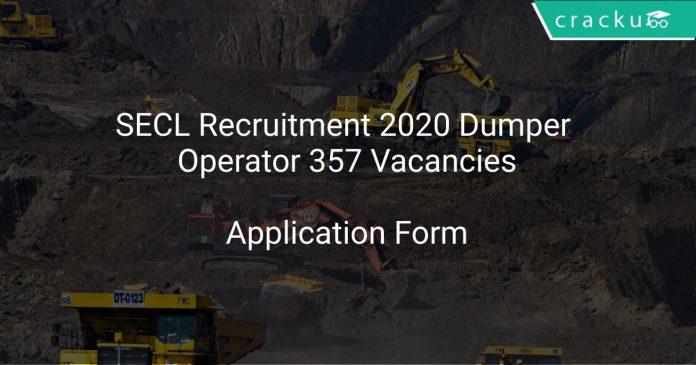 SECL Recruitment 2020 Dumper Operator 357 Vacancies