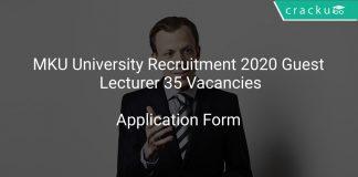 MKU University Recruitment 2020 Guest Lecturer 35 Vacancies