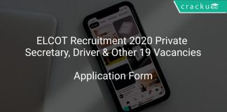 ELCOT Recruitment 2020 Private Secretary, Driver & Other 19 Vacancies
