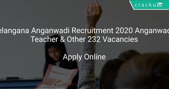 Telangana Anganwadi Recruitment 2020 Anganwadi Teacher & Other 232 Vacancies