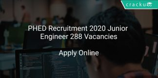 PHED Recruitment 2020 Junior Engineer 288 Vacancies