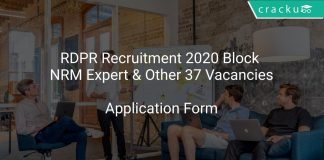 RDPR Recruitment 2020 Block NRM Expert & Other 37 Vacancies