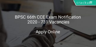 BPSC 66th CCE Exam Notification 2020 - 731 Vacancies