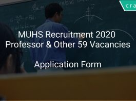 MUHS Recruitment 2020 Professor & Other 59 Vacancies
