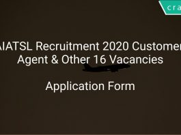 AIATSL Recruitment 2020 Customer Agent & Other 16 Vacancies