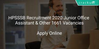 HPSSSB Recruitment 2020 Junior Office Assistant & Other 1661 Vacancies