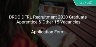 DRDO DFRL Recruitment 2020 Graduate Apprentice & Other 15 Vacancies