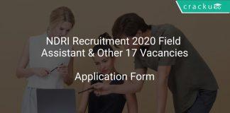 NDRI Recruitment 2020 Field Assistant & Other 17 Vacancies