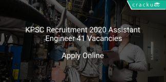 KPSC Recruitment 2020 Assistant Engineer 41 Vacancies