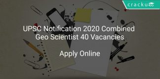 UPSC Notification 2020 Combined Geo Scientist 40 Vacancies