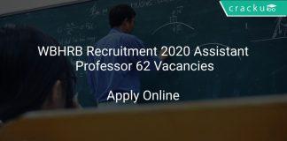 WBHRB Recruitment 2020 Assistant Professor 62 Vacancies