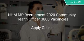 NHM MP Recruitment 2020 Community Health Officer 3800 Vacancies