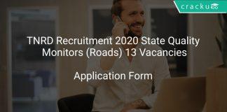 TNRD Recruitment 2020 State Quality Monitors (Roads) 13 Vacancies