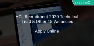 HCL Recruitment 2020 Technical Lead & Other 45 Vacancies