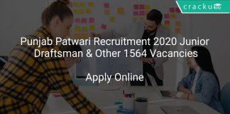 Punjab Patwari Recruitment 2020 Junior Draftsman & Other 1564 Vacancies