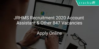 JRHMS Recruitment 2020 Account Assistant & Other 847 Vacancies