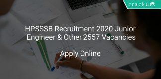 HPSSSB Recruitment 2020 Junior Engineer & Other 2557 Vacancies