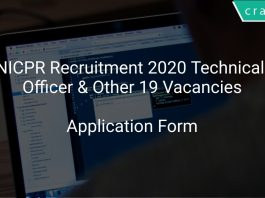 NICPR Recruitment 2020 Technical Officer & Other 19 Vacancies