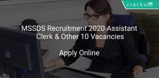 MSSDS Recruitment 2020 Assistant Clerk & Other 10 Vacancies