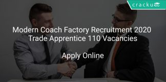 Modern Coach Factory Recruitment 2020 Trade Apprentice 110 Vacancies