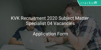 KVK Recruitment 2020 Subject Matter Specialist 04 Vacancies