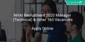 NHAI Recruitment 2020 Manager (Technical) & Other 163 Vacancies