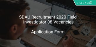 SDAU Recruitment 2020 Field Investigator 08 Vacancies