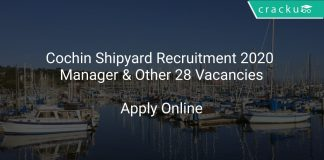Cochin Shipyard Recruitment 2020 Manager & Other 28 Vacancies
