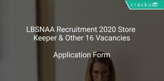 LBSNAA Recruitment 2020 Store Keeper & Other 16 Vacancies