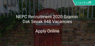 NEPC Recruitment 2020 Gramin Dak Sevak 948 Vacancies
