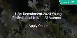 NBA Recruitment 2020 Young Professional I/ II/ III 23 Vacancies
