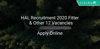 HAL Recruitment 2020 Fitter & Other 17 Vacancies