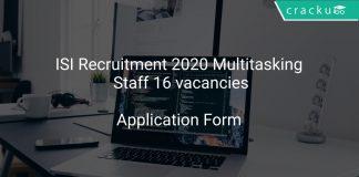 ISI Recruitment 2020 Multitasking Staff 16 vacancies