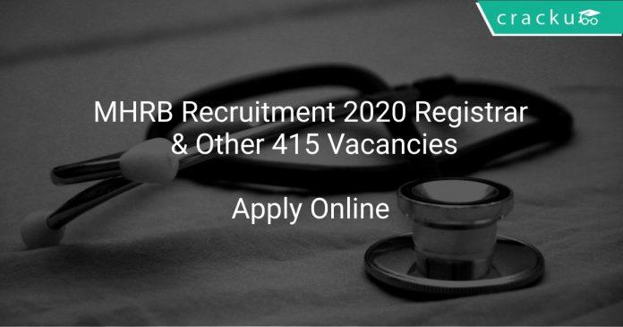 MHRB Recruitment 2020 Registrar & Other 415 Vacancies