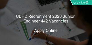 UDHD Recruitment 2020 Junior Engineer 442 Vacancies