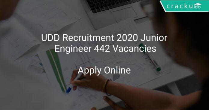 UDD Recruitment 2020 Junior Engineer 442 Vacancies