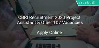 CBRI Recruitment 2020 Project Assistant & Other 107 Vacancies