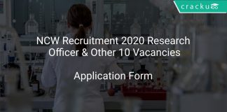 NCW Recruitment 2020 Research Officer & Other 10 Vacancies