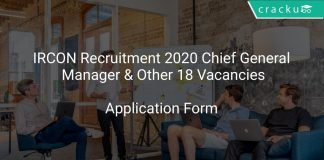 IRCON Recruitment 2020 Chief General Manager & Other 18 Vacancies