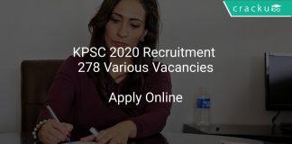 KPSC 2020 Recruitment 278 Various Vacancies
